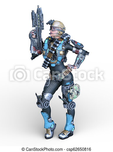 3D CG Rendering von Cyborg-Frau - csp62650816