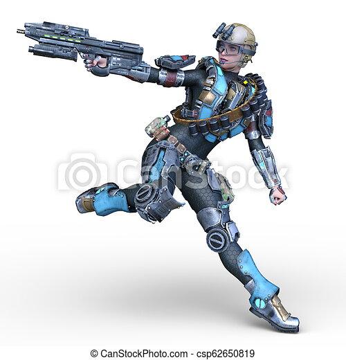 übertragung, cyborg, frau, cg, 3d - csp62650819