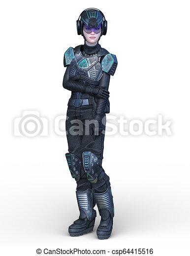 übertragung, cyborg, frau, cg, 3d - csp64415516