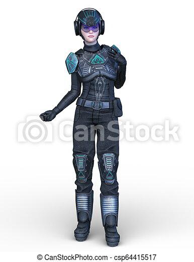 3D CG Rendering von Cyborg-Frau - csp64415517