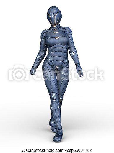 3D CG Rendering von Cyborg-Frau - csp65001782