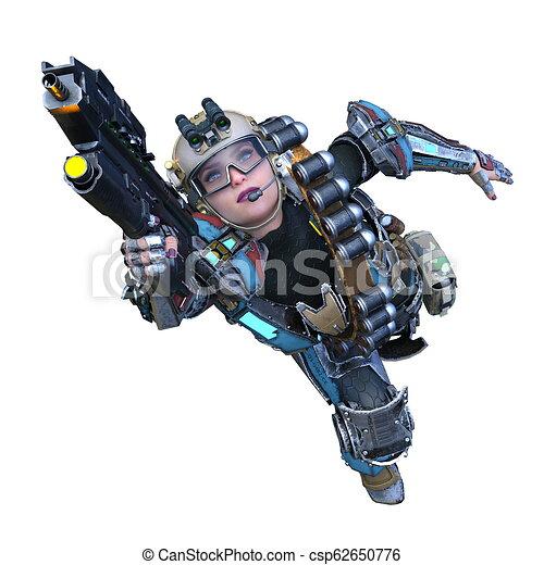 übertragung, cyborg, frau, cg, 3d - csp62650776