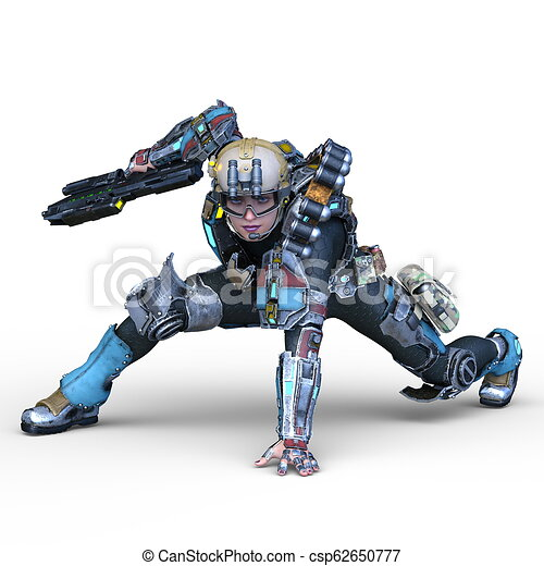 3D CG Rendering von Cyborg-Frau - csp62650777