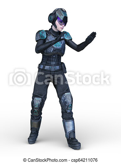 3D CG Rendering von Cyborg-Frau - csp64211076