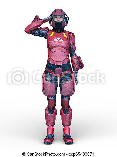 3D CG Rendering von Cyborg-Frau - csp65480071