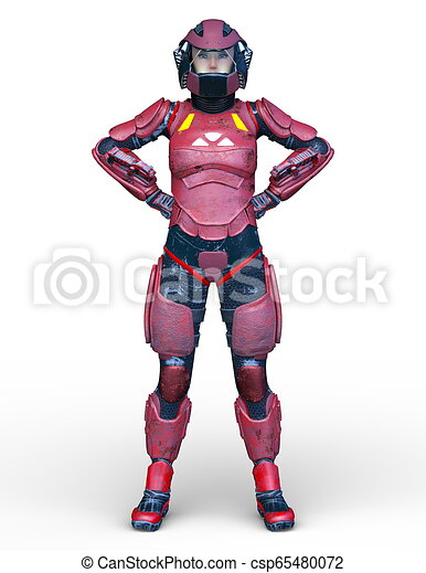 3D CG Rendering von Cyborg-Frau - csp65480072