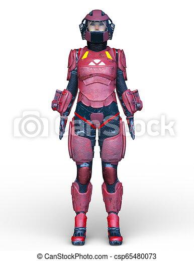 übertragung, cyborg, frau, cg, 3d - csp65480073