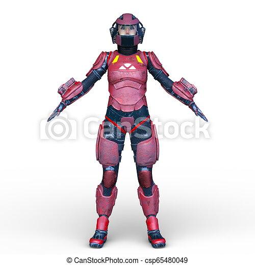 übertragung, cyborg, frau, cg, 3d - csp65480049