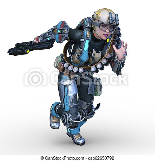 3D CG Rendering von Cyborg-Frau - csp62650792