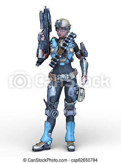übertragung, cyborg, frau, cg, 3d - csp62650794