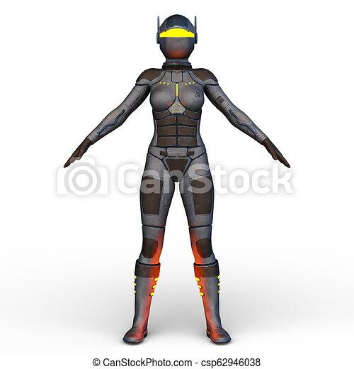 übertragung, cyborg, frau, cg, 3d - csp62946038