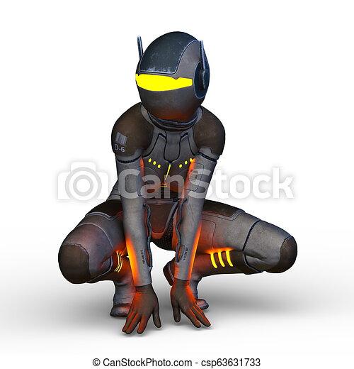3D CG Rendering von Cyborg-Frau - csp63631733