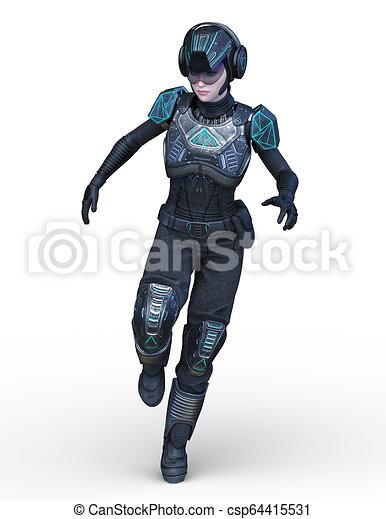 übertragung, cyborg, frau, cg, 3d - csp64415531