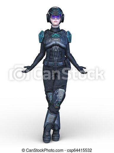 3D CG Rendering von Cyborg-Frau - csp64415532