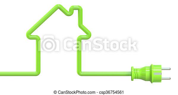 Charming übertragung, Elektrizität, Haus, Begriff, ökologisch, 3d   Csp36754561