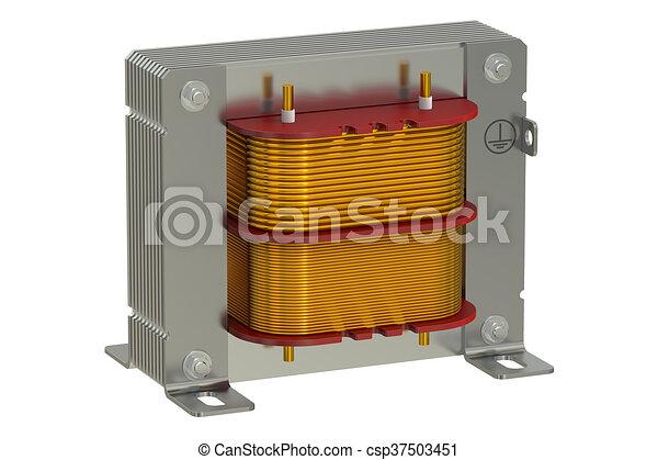 Übertragung, transformator, elektrisch, 3d. Elektrisch,... Stock ...