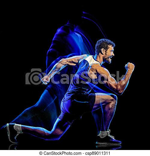 übung, mann, cardio, kampf, freigestellt, koerper, hintergrund, schwarz, boxen, fitness - csp89011311
