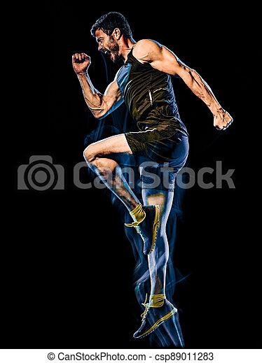übung, mann, cardio, kampf, freigestellt, koerper, hintergrund, schwarz, boxen, fitness - csp89011283
