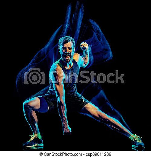 übung, mann, cardio, kampf, freigestellt, koerper, hintergrund, schwarz, boxen, fitness - csp89011286