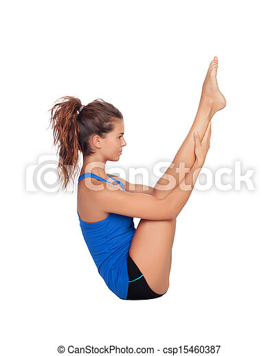 übungen, frau, pilates, attraktive - csp15460387