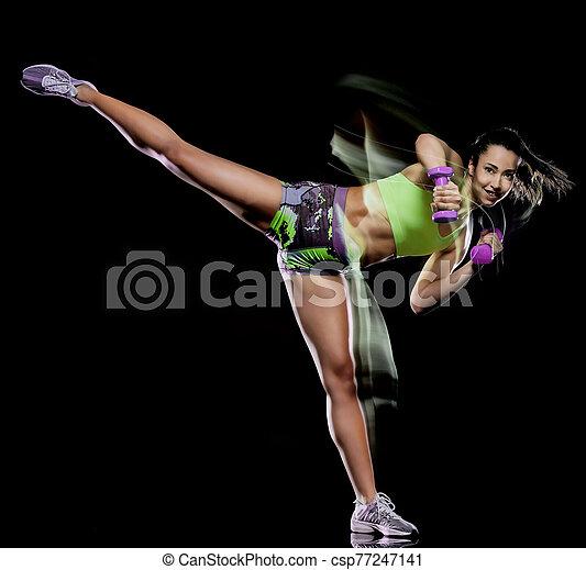 übungen, schwarz, trainieren, fitness, lightpainting, freigestellt, frau, hintergrund - csp77247141
