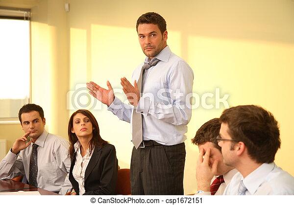 ügy, fesztelen, -, főnök, beszéd, gyűlés - csp1672151