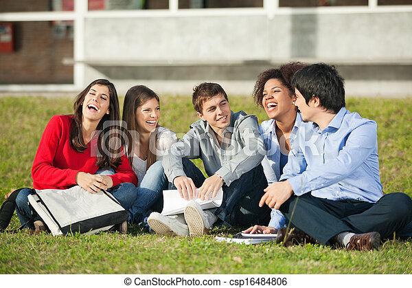 ülés, diákok, jókedvű, főiskola, fű, egyetem területe - csp16484806