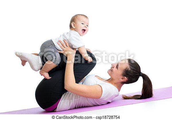 ünnepély, gyermek, anyu, gimnasztikai, állóképesség - csp18728754
