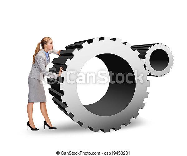 üzletasszony, cogwheel, elfoglalt, rámenős - csp19450231
