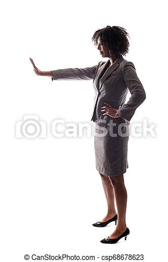 üzletasszony, gesturnig, abbahagy, fekete - csp68678623