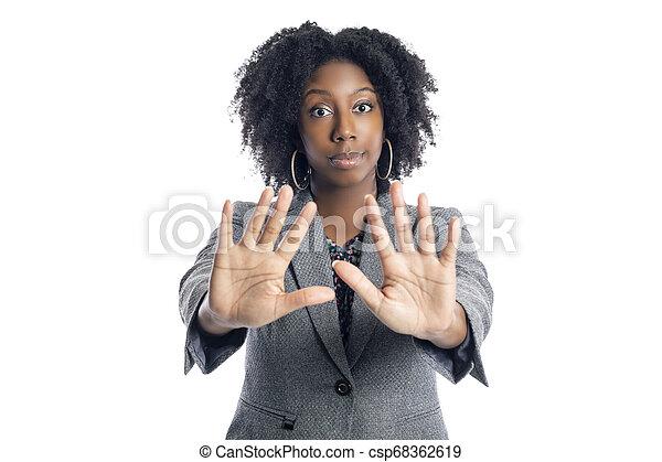 üzletasszony, megáll gesztus, női black - csp68362619