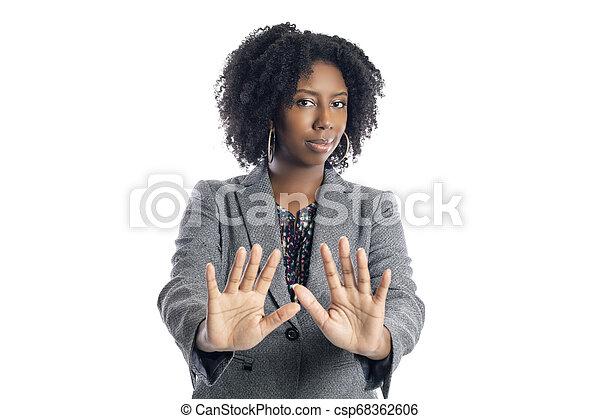üzletasszony, megáll gesztus, női black - csp68362606