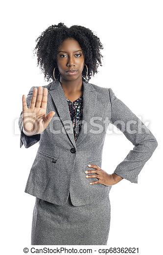 üzletasszony, megáll gesztus, női black - csp68362621