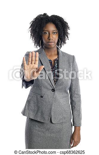 üzletasszony, megáll gesztus, női black - csp68362625