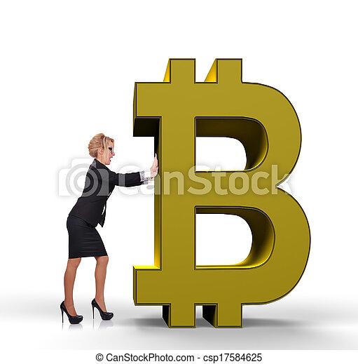 üzletasszony, rámenős, bitcoin - csp17584625