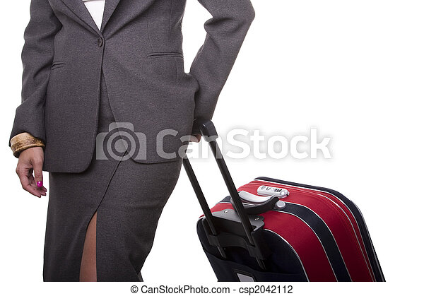 üzletasszony, rámenős, neki, poggyász - csp2042112
