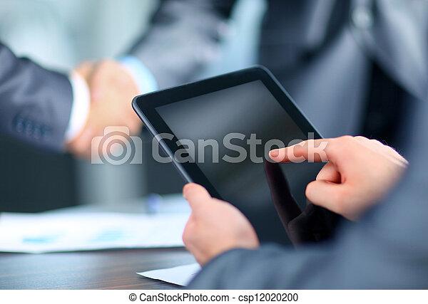 üzletember, birtok, tabletta, digitális - csp12020200