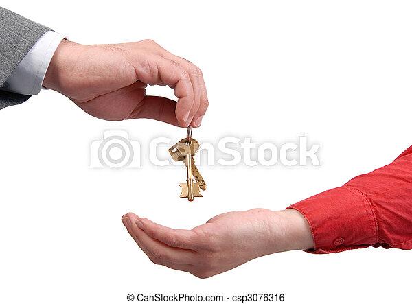 üzletember, kezelő, nő, kulcs, kéz - csp3076316