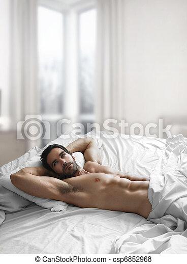 łóżko, człowiek, sexy - csp6852968