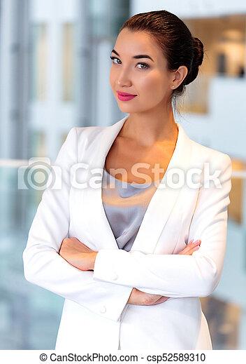 ładny, kobieta, biuro, handlowy - csp52589310