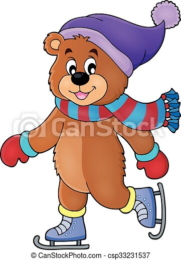 łyżwiarstwo, wizerunek, niedźwiedź, 1, temat, lód - csp33231537