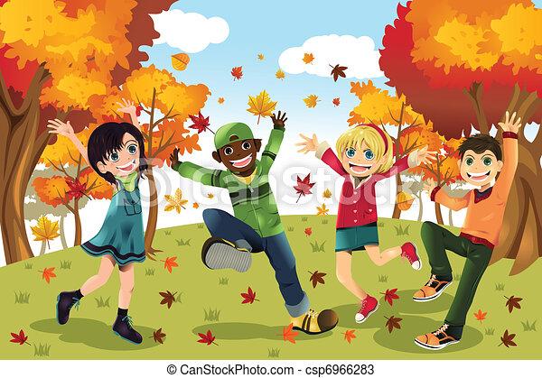 ősz, évad, gyerekek, bukás - csp6966283