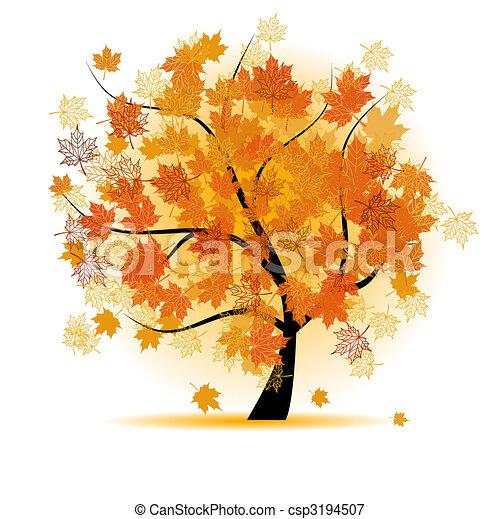 ősz, fa, levél növényen, juharfa, bukás - csp3194507