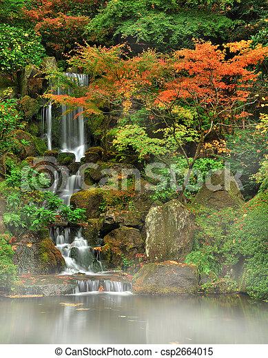 ősz, köd, vízesés - csp2664015