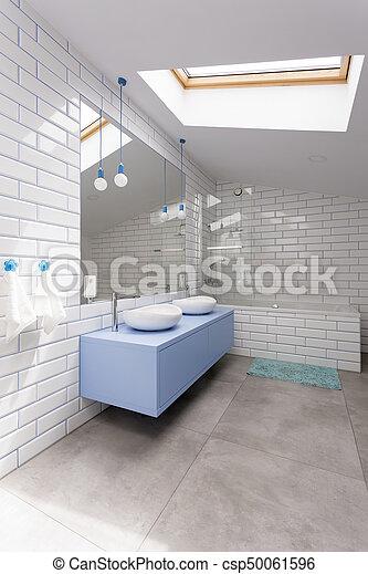 ściana łazienka Biała Cegła