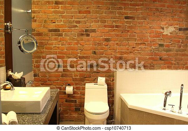 ściana łazienka Nowoczesny Cegła