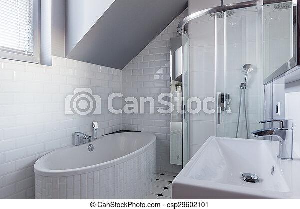 ściana Cegła łazienka Luksus