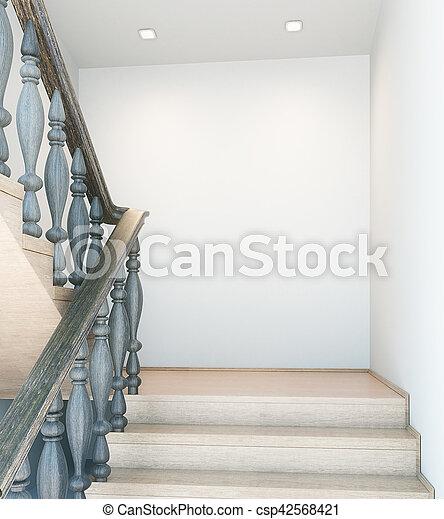 ściana, opróżniać, schody, wewnętrzny - csp42568421