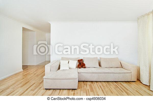 ściana, wewnętrzny, nowoczesny, wolny, dom - csp4936034