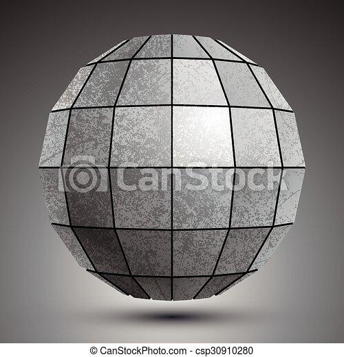 ścianka, grunge, stworzony, kula, object., wymiarowy, cynkować, abstrakcyjny, kwadraty - csp30910280